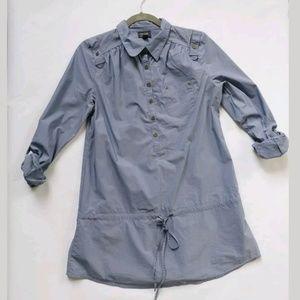Nicole Miller shirt/safari dress blue medium